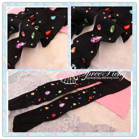 Blingbling Big Colorful Diamonds Vertical Stripes Thick Tights 180D SP130027 - SpreePicky  - 3