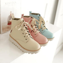 Load image into Gallery viewer, Blue/Beige/Pink Bandage Low Flat Boots SP168374