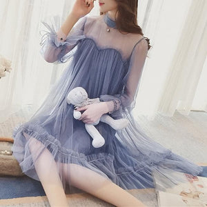 Blue/Beige Fairy Falbala Tulle Dress SP1812152