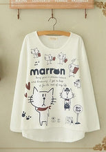 Load image into Gallery viewer, Blue/Beige What A Kitty Daily Life Jumper Shirt SP154313 - SpreePicky  - 4