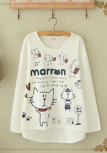 Blue/Beige What A Kitty Daily Life Jumper Shirt SP154313 - SpreePicky  - 4