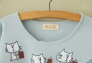 Blue/Beige What A Kitty Daily Life Jumper Shirt SP154313 - SpreePicky  - 6