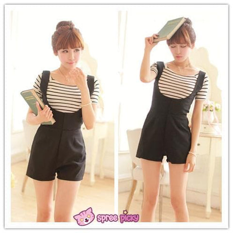 [Blue/Black] 2 Pieces Set Stripes Top and Jumpsuit Shorts SP151867 - SpreePicky  - 3