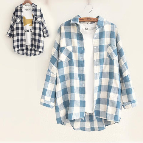 Blue/Navy Grid Long Sleeve Blouse SP168239
