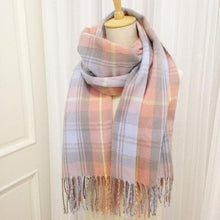 Load image into Gallery viewer, Blue/Pink/Purple Grid Warming Scarf SP168260