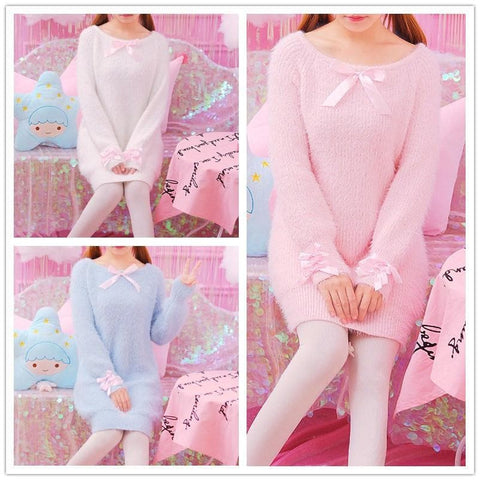 Blue/Pink/White Pastel Bow Midi Knitting Sweater SP1711467