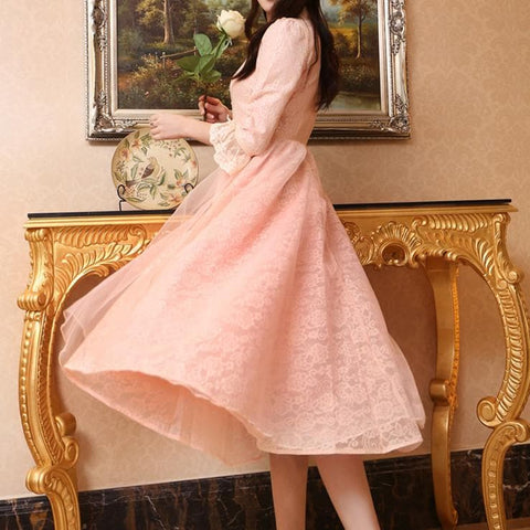 Blue/Pink/White Vintage Lace Long Dress SP178995