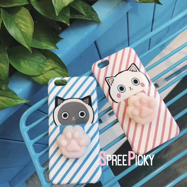 Blue/Pink Kawaii Cat Paw Couple Phone Case SP1711170