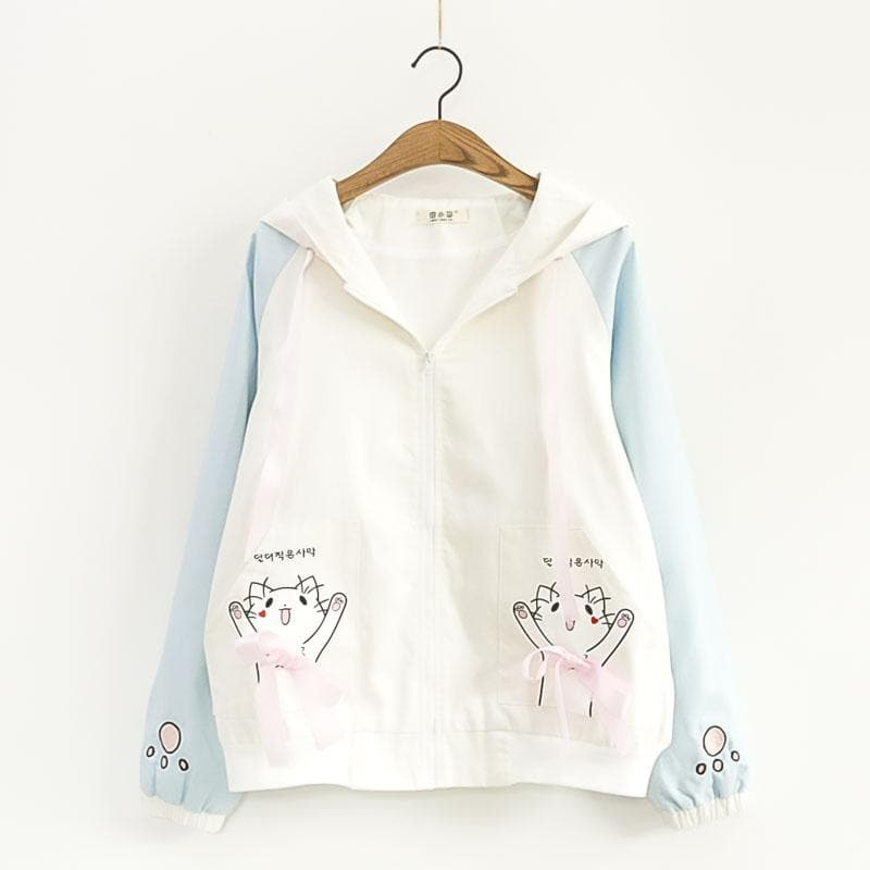 Blue/Pink Kawaii Kitty Ribbon Hoodie Coat SP1812116