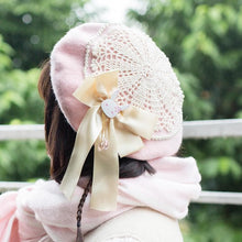 Load image into Gallery viewer, Blue/Pink Kawaii Lolita Bow Beret SP1811812