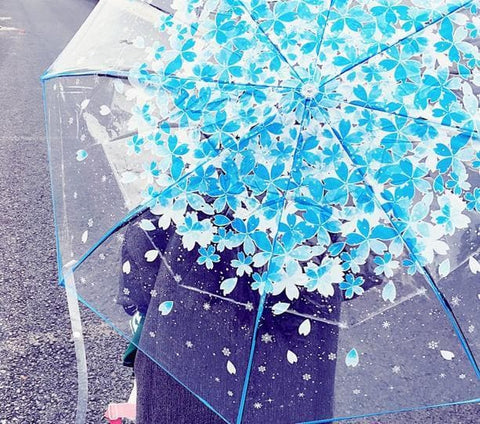 4 Colors Sakura Sun-Rain 3 Fold Clear Umbrella SP167530
