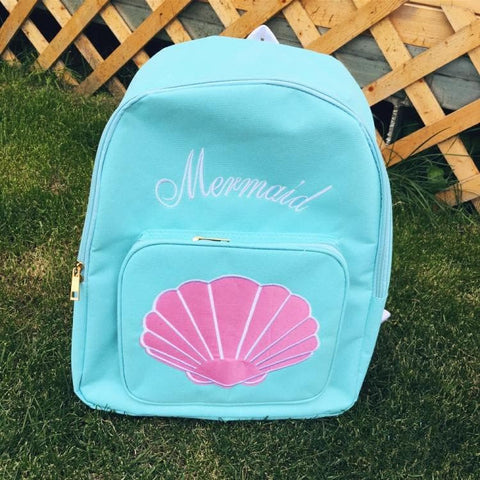 Blue/Pink Mermaid Embroidery School Backpack SP166898