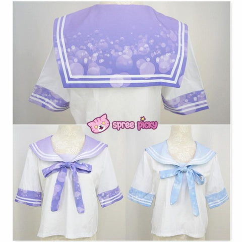 Blue/Purple Bubble Lemonade Seifuku Uniform Top SP140976/ Skirt SP140975 - SpreePicky  - 2