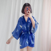 Load image into Gallery viewer, Blue/Red/Black Japanese Kimono Bathrobe Coat SP1811994