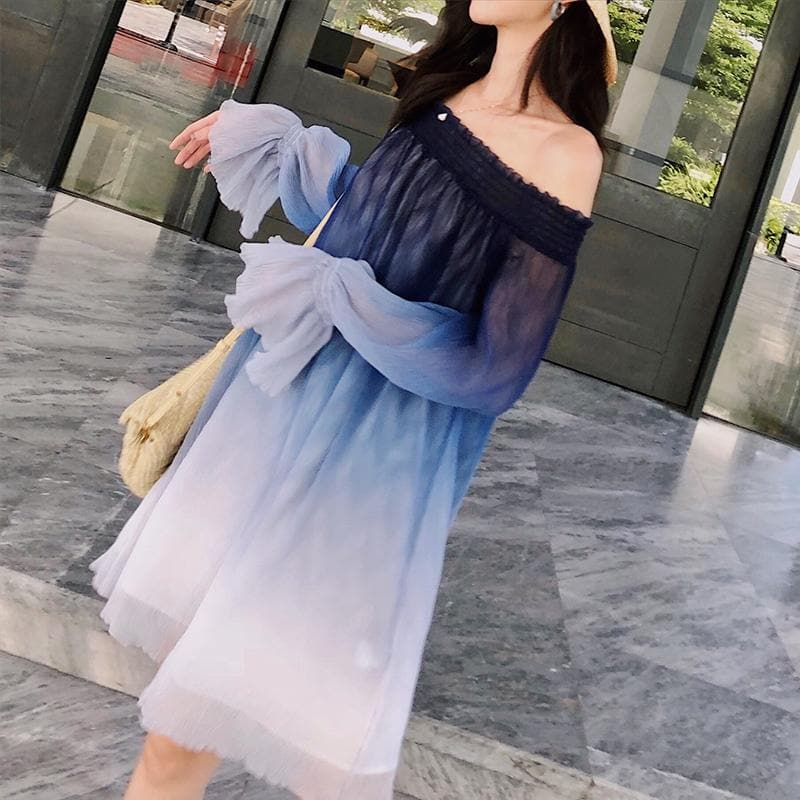 Blue Gradient Fairy Off-Shoulder Dress SP1812425