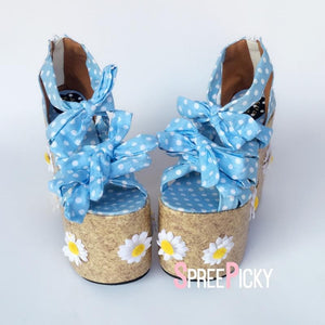 Blue Grids Daisy Dream Pump Shoes SP1710004