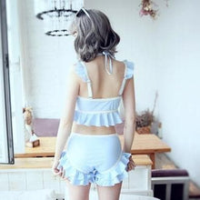 Load image into Gallery viewer, Blue Kawaii Falbala Lolita Two-Piece Swimsuit SP1812278