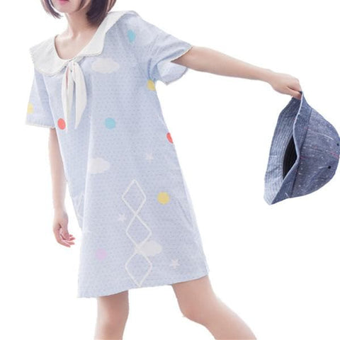 Blue Lovely Printed Short Sleeve Dress SP166758