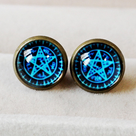 Blue Magic Circle Star Earring SP152600