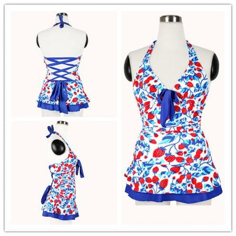 M/L/XL Blue Strawberry Halter One-piece Swimming Suit SP151998 - SpreePicky  - 2