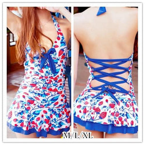 M/L/XL Blue Strawberry Halter One-piece Swimming Suit SP151998 - SpreePicky  - 1