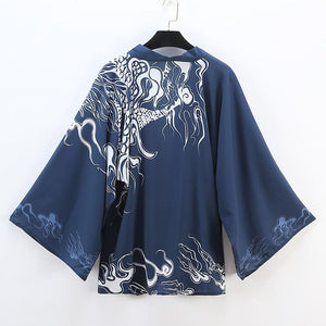 Blue Time Raiders Dragon Kimono Bathrobe SP179986