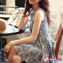 Load image into Gallery viewer, S-XL Blue and White Floral Sleeveless Dress SP151932 Kawaii Aesthetic Fashion - SpreePicky