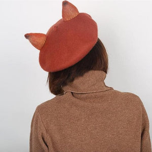 Brick-red Elegant Fox Artist Beret Hat SP178727