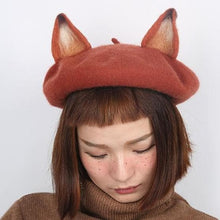 Load image into Gallery viewer, Brick-red Elegant Fox Artist Beret Hat SP178727