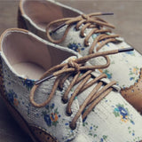 Brown/Beige Floral Laced Shoes SP179307