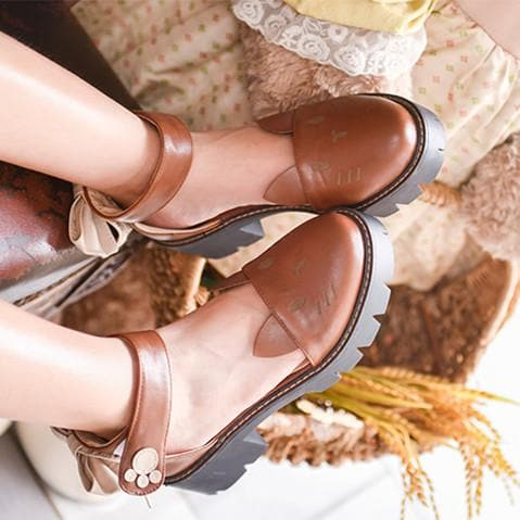 Brown/Beige Kawaii Kitty Bow Shoes SP1812595