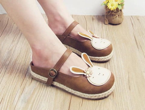 Brown/Beige Kawaii Retro Preppy Style Shoes SP168025