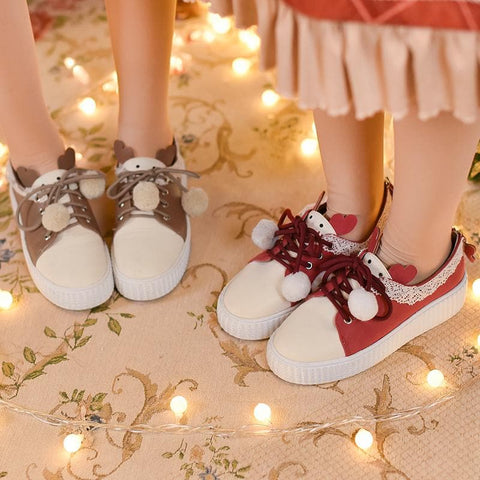 Brown/Red Lace Lolita Shoes SP1811885