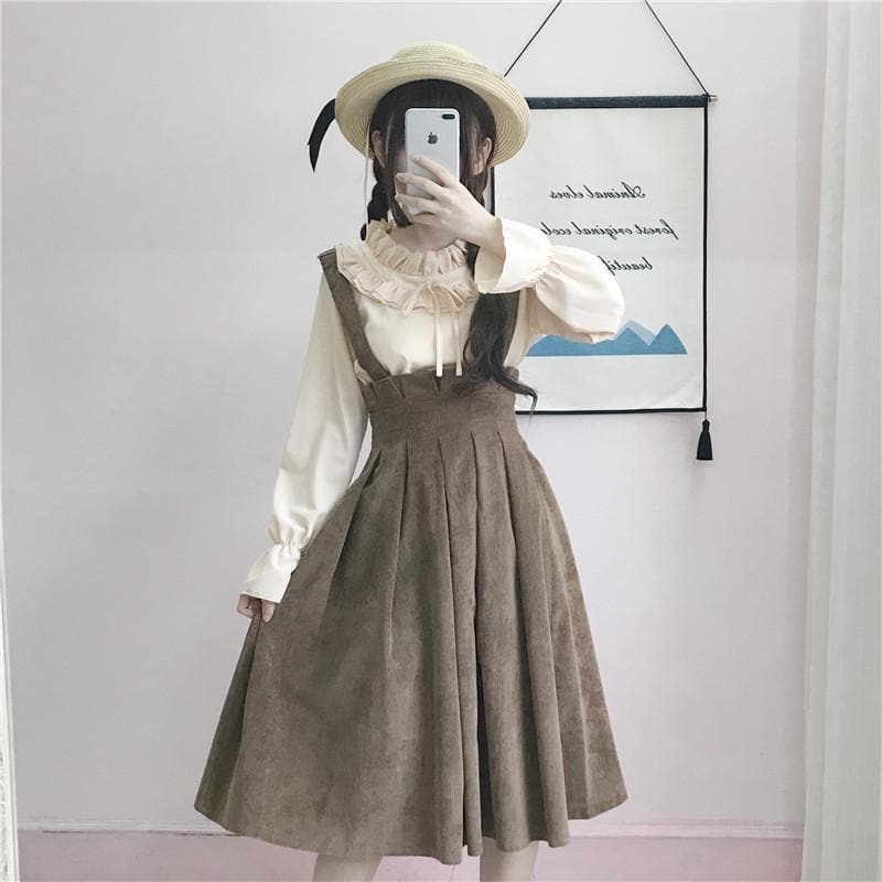 brown sweet pleated suspender skirt sp1711443 spreepicky