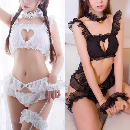 Black/White Heart Hollow Out Lace Lingerie SP1812420