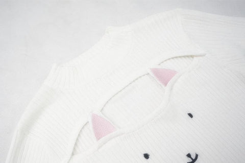 4 Colors Kitty Open Chest Sweater SP154123 - SpreePicky  - 8