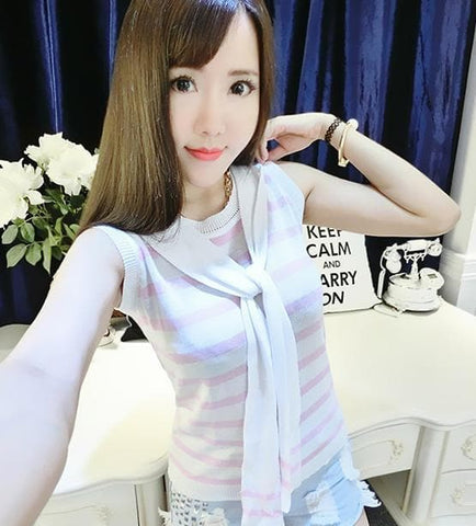 4 colors Chibi Sailor Knitted Stripe Summer Shirt SP152453 - SpreePicky  - 4