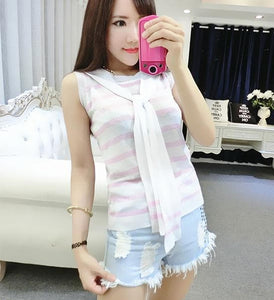 4 colors Chibi Sailor Knitted Stripe Summer Shirt SP152453 - SpreePicky  - 5