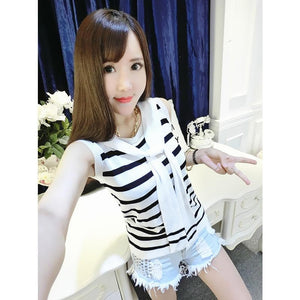 4 colors Chibi Sailor Knitted Stripe Summer Shirt SP152453 - SpreePicky  - 7