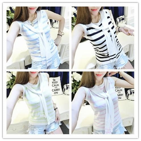 4 colors Chibi Sailor Knitted Stripe Summer Shirt SP152453 - SpreePicky  - 1