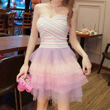 Load image into Gallery viewer, Colorful Off-Shoulder Tulle Dress SP1812021