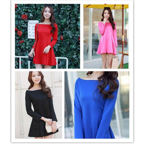 S-XL 4 Colors Simple Long Sleeve Dress SP152637 - SpreePicky  - 1