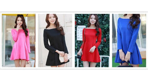 S-XL 4 Colors Simple Long Sleeve Dress SP152637 - SpreePicky  - 2