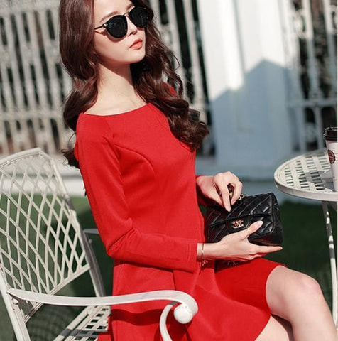 S-XL 4 Colors Simple Long Sleeve Dress SP152637 - SpreePicky  - 3