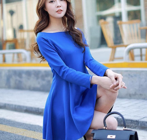 S-XL 4 Colors Simple Long Sleeve Dress SP152637 - SpreePicky  - 4