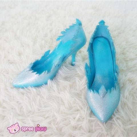 EU 31-47 Cosplay [Frozen] Queen Elsa Blingbling Blue Heel Shoes SP140774