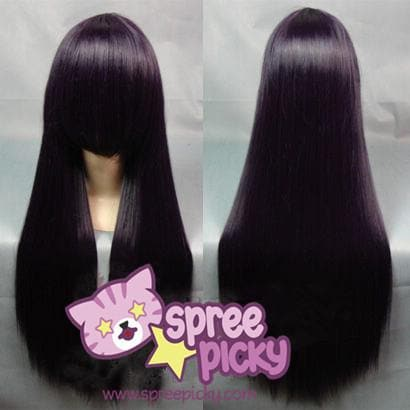 Cosplay [Inu x Boku SS] Shirakiin Ririchiyo Black Purple Long Wig SP152547