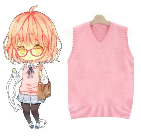 Cosplay Kyokai no Kanata Kuriyama Mirai Pink Knitting Vest Sweater SP141464