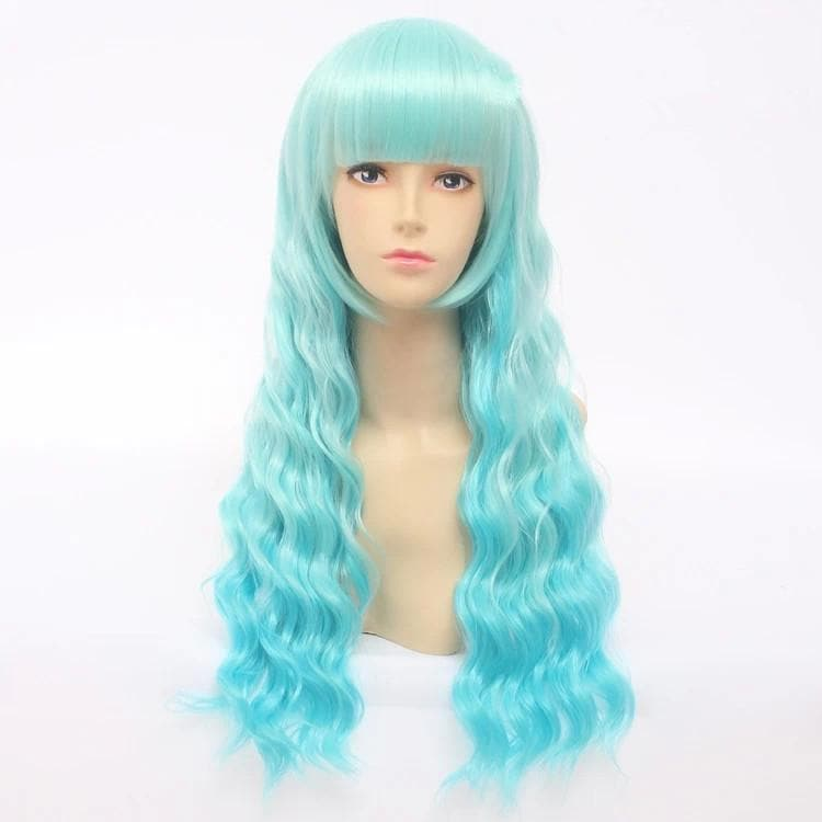 Cosplay Lolita Blue Green Curly Wig SP141204 - SpreePicky  - 1