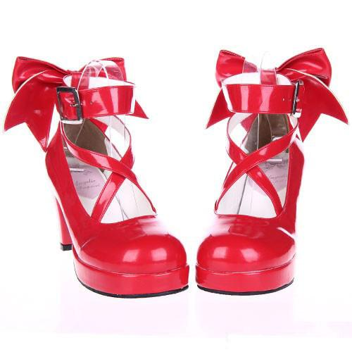 EU 33 - 52 [Cosplay Madoka] Lolita Princess Bow Platform High Heel Shoes SP130232 - SpreePicky  - 1